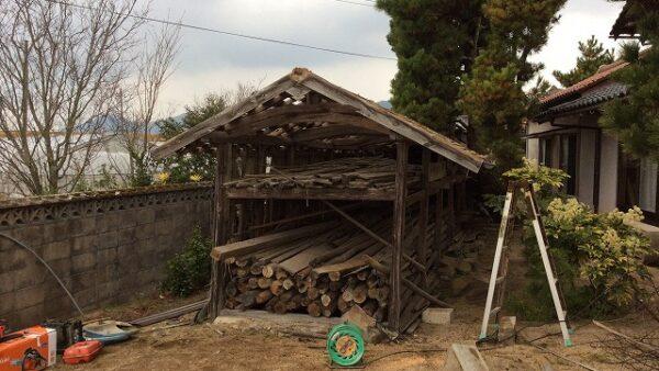 S様邸 稲架木(はでぎ)小屋 解体作業